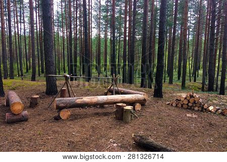 Hiking Halt In The Wild Forest Of The North. The Journey Of Brave Travelers. Camping Made With Their