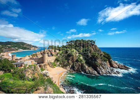 Fortress Vila Vella And Badia De Tossa Bay At Summer In Tossa De Mar On Costa Brava, Catalunya, Spai