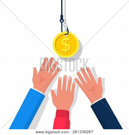 Coin On Hook. Dollar Bait. Money Trap Concept. Vector Illustration Flat Design. Isolated On Backgrou
