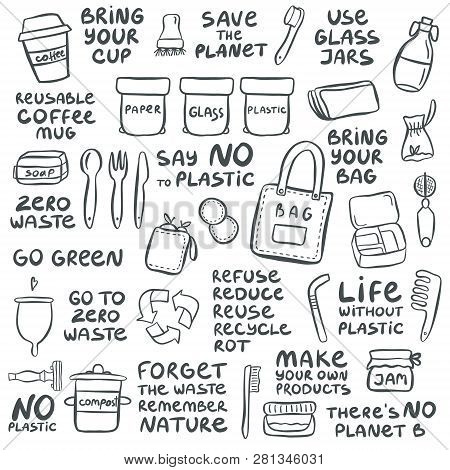 Set Of Hand Drawn Elements Of Zero Waste Life