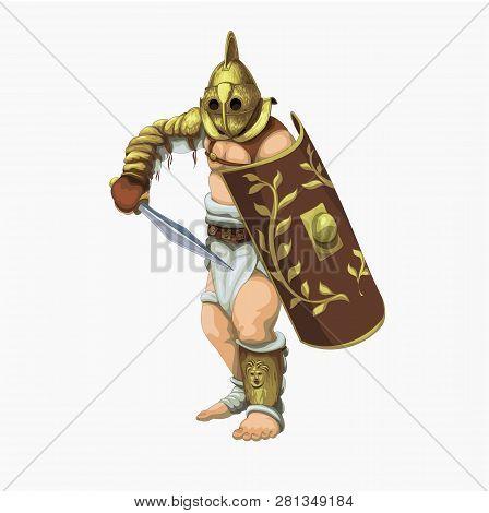 Gladiator secutor preparing to attack the enemy, vector illustration. poster