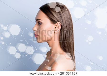 Advertising antiage wrinkle acne removal concept. Close-up portrait of nice attractive lady perfect shine pure flawless clean clear smooth soft facial structure isolated on gray blue pastel background poster