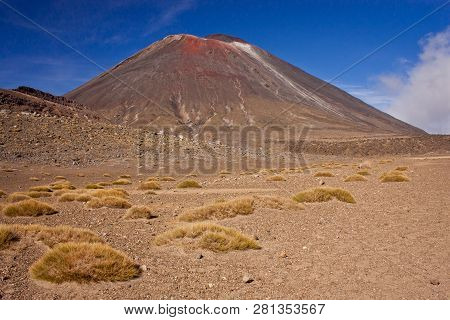 Famous Stratovolcano Of New Zealand Mt. Ngauruhoe In Tongariro National Park