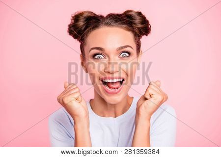 Close-up Portrait Of Her She Nice-looking Crazy Lovely Attractive Cheerful Cheery Glad Funny Girl Wi