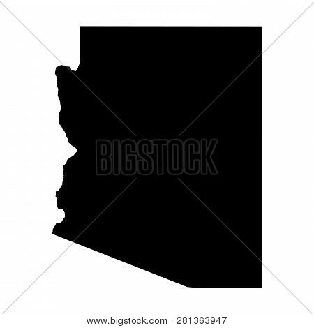 Arizona, State Of Usa - Solid Black Silhouette Map Of Country Area. Simple Flat Vector Illustration