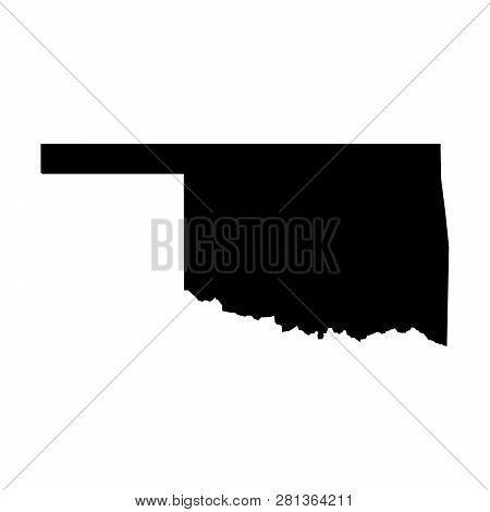 Oklahoma, State Of Usa - Solid Black Silhouette Map Of Country Area. Simple Flat Vector Illustration