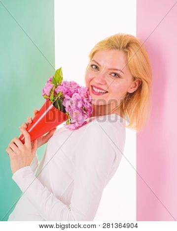 Who Is Her Secret Admirer Lady Happy Received Flowers From Secret Admirer. Woman Smiling Dreamy Try