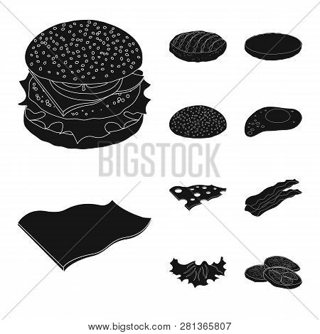 Vector Illustration Of Burger And Sandwich Symbol. Set Of Burger And Slice Stock Vector Illustration