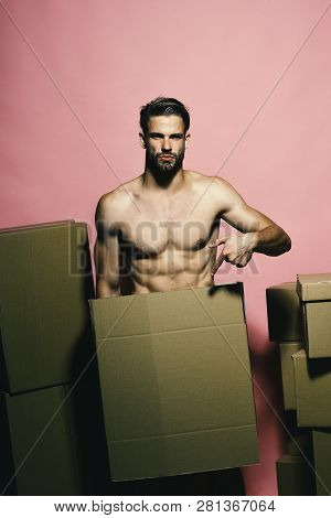 Loader With Serious Face Covers Nudity, Points To Box