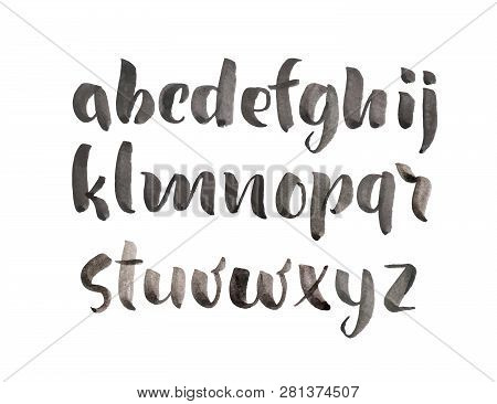 Vector Brush Style Hand Drawn Alphabet Watercolor Font. Calligraphy Custom Typography For Design Log