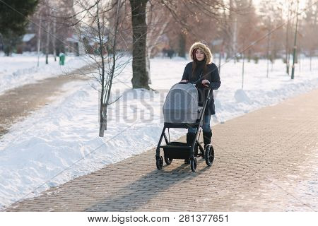 Beautiful Mother Walking In The Park With Her Little Baby In Stoller. Woman Dressed In Blue Jaket Wi