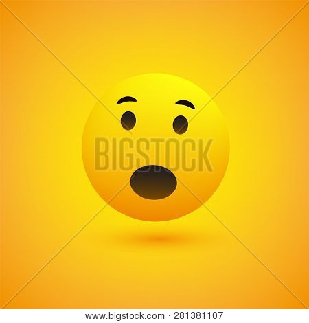 Surprised Face Emoji With Open Eyes - Simple Emoticon On Yellow Background - Vector Design Illustrat