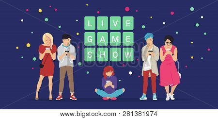 Live Game Show Mobile App Concept Flat Vector Illustration Of Online Quiz. Group Of Teenagers Using