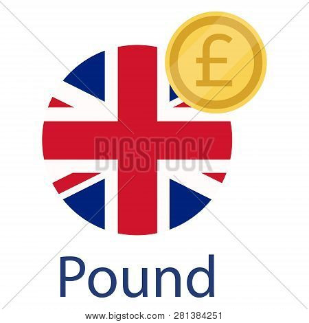 Uk Round Flag And Currency Symbol Gbp. United States Of Great Britain Flag And Pound Golden Coin. Cu