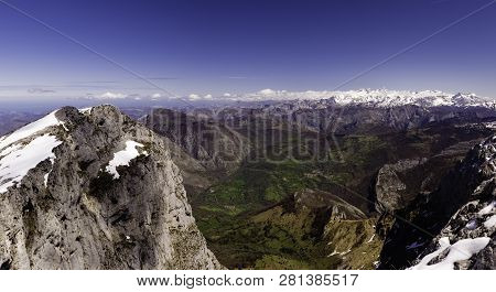 European Landscape. View Of European Peaks, From Tiatordos Mountain. Asturias, Spain.