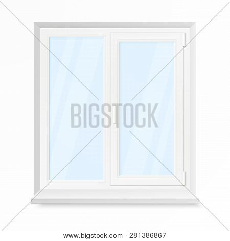 White Office Plastic Window. Window Front View. Vector Illustration Isolated On White Background
