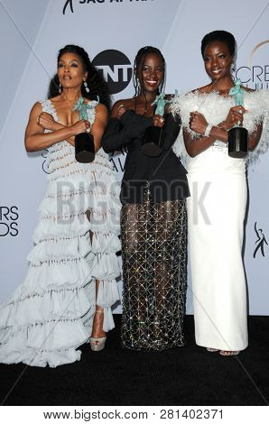 LOS ANGELES - JAN 27:  Angela Basset, Lupita Nyong'o, Danai Gurira at the 25th Annual Screen Actors Guild Awards at the Shrine Auditorium on January 27, 2019 in Los Angeles, CA