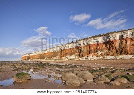 21 February 2015: Hunstanton Cliffs,  Norfolk - Where White Chalk Overlays Red Limestone In A Colour
