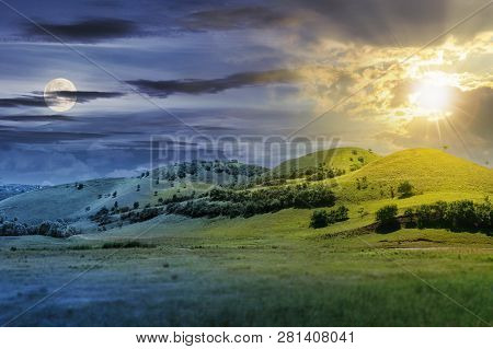 Day And Night Time Change Concept Above Three Hills In Summer Landscape. Beautiful Countryside Scene