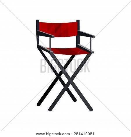 Actor S Chair With Black Frame And Red Canvas. Cinema Director Seat. Dressing Room Furniture. Flat V