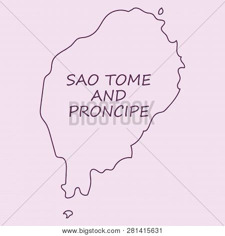 Sao Tome And Principe Map. Vector Silhouette Of Sao Tome And Principe Map