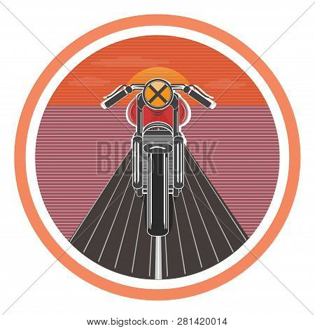Retro Poster With Vintage Motorcycle. Vector Illustration.