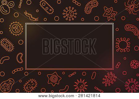 Bright horizontal frame with microorganism outline icons. Vector virology illustration in linear style on dark background poster