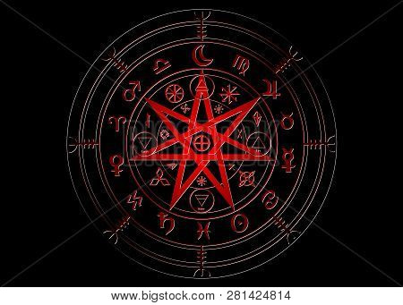 Wiccan symbol of protection. Red Mandala Witches runes, Mystic Wicca divination. Ancient occult symbols, Earth Zodiac Wheel of the Year Wicca Astrological signs, vector isolated or black background poster
