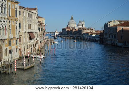 Wonderful Shot Of The Grand Canal From The Accademia Bridge With La Salute Church In The Background