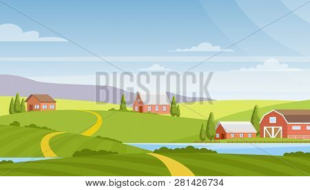 Vector Illustration Of Beautiful Rural Landscape, Farm And Fields, River And Mountains On Background