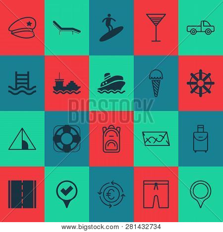 Tourism Icons Set With Euro Exchange, Rudder, Pickup And Other Chaise Longue Elements. Isolated Vect