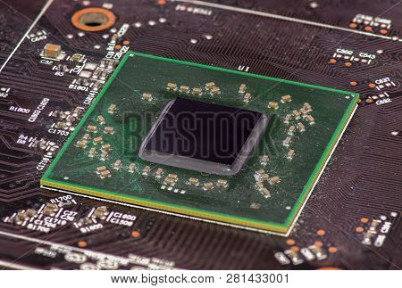 Closeup Integrated Semiconductor Microchip And Microprocessor On Board, High Tech Industry And Compu