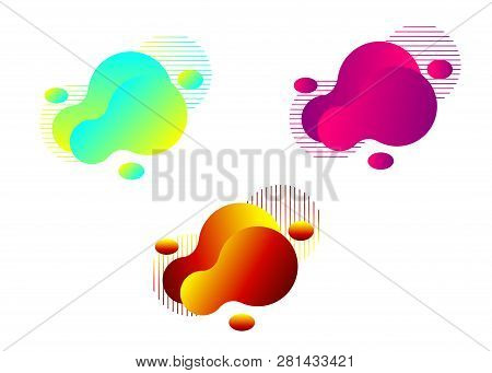 Set Of Modern Liquid Abstract Elements Graphic Design. Colorful Vector Fluid Illustration Isolated O