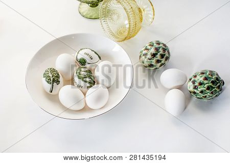 Minimalistic Easter Eggs Decorated With Decoupage And White On A White Background. Simple Decoration