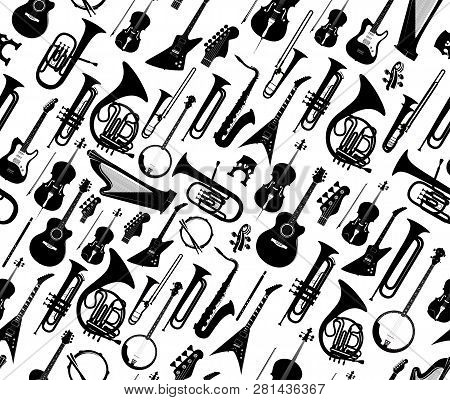 Seamless Background With Silhouettes Of Musical Instruments Black Color Isolated On White. Vector Il