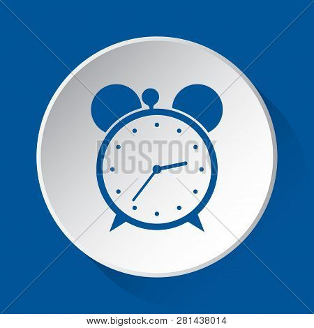 Alarm Clock - Simple Blue Icon On White Button With Shadow In Front Of Blue Square Background