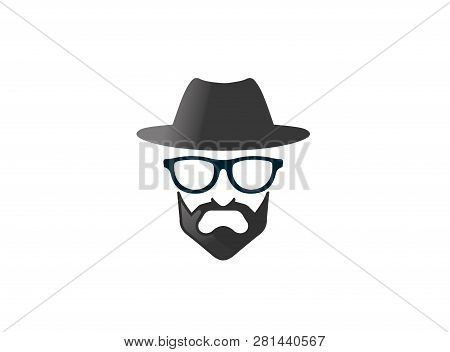 Bowler Hat With Beard And Glasses Brille Und Bart For Logo