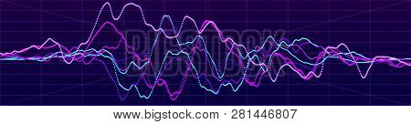Abstract Background With Dynamic Waves. Big Data Visualization. Sound Wave Element. Technology Equal