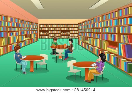 A Vector Illustration Of Group Of School Kids Studying In Library