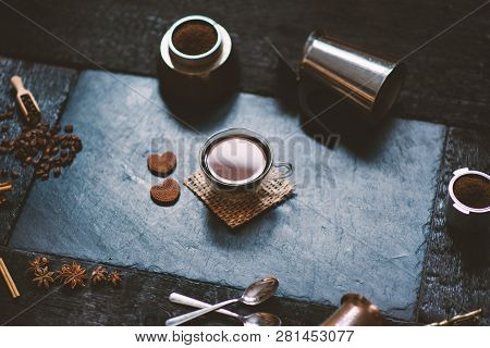 Concept - Preparing Of Coffee. Coffee Cup, Mocha, Coffee Maker, Roasted Beans, Spoons, Turkisch Cezv