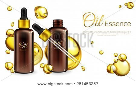 Vector 3d Realistic Oil Essence In Brown Glass Bottles With A Pipette. Yellow Liquid In Droplets, Sp