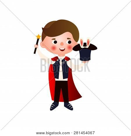 A Young Handsome Magician Rehearsing His Stunts For His Performance. The Boy In The Clothing Of A Ma