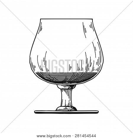 Snifter With Cognac. Vector Illustration On White Background.