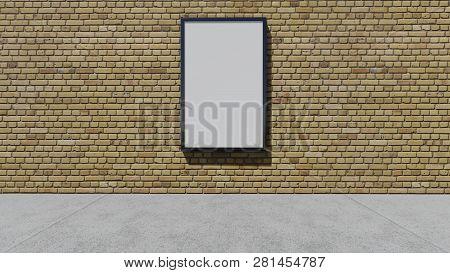 One Blank Billboard On The Wall, 3d Rendering