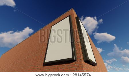 Two Blank Billboards On The Building, 3d Rendering