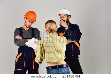 Building Your Dream Home. Professional People Working On Construction Design. Group Of Constructing