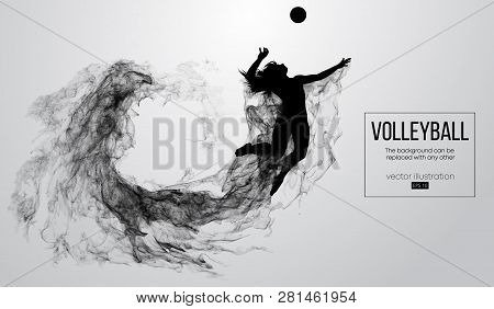 Abstract Silhouette Of A Volleyball Player Woman On White Background From Particles. Volleyball Play