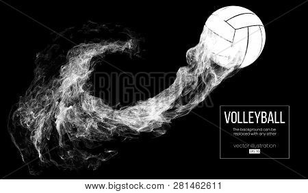 Abstract Silhouette Of A Volleyball Ball On Dark, Black Background From Particles. Volleyball Ball I