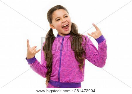 I Am Going Rock This Party. Kid Shouting With Crazy Expression Doing Rock Symbol Hands Up. Music Sta