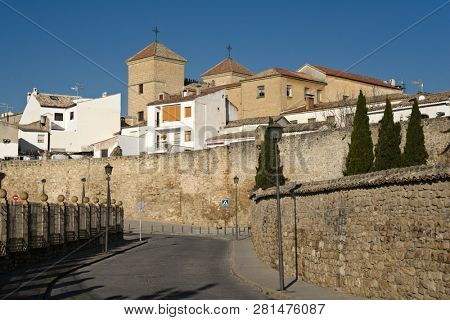 UBEDA, SPAIN - JANUARY 7, 2013: Cityscape with dominated towers of Casa de las Torres. Build around 1520, this national monument is currently the headquarters of the School of Art